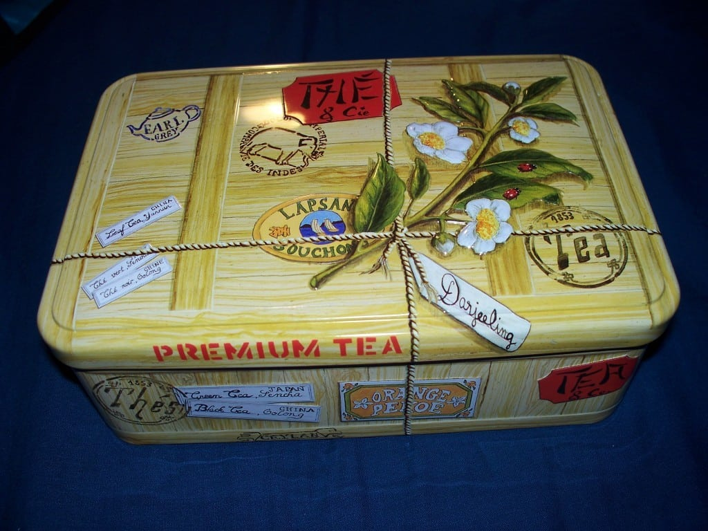 Metal tea chest. A gift from my mom.